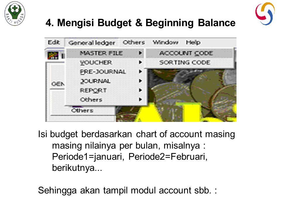 4. Mengisi Budget & Beginning Balance