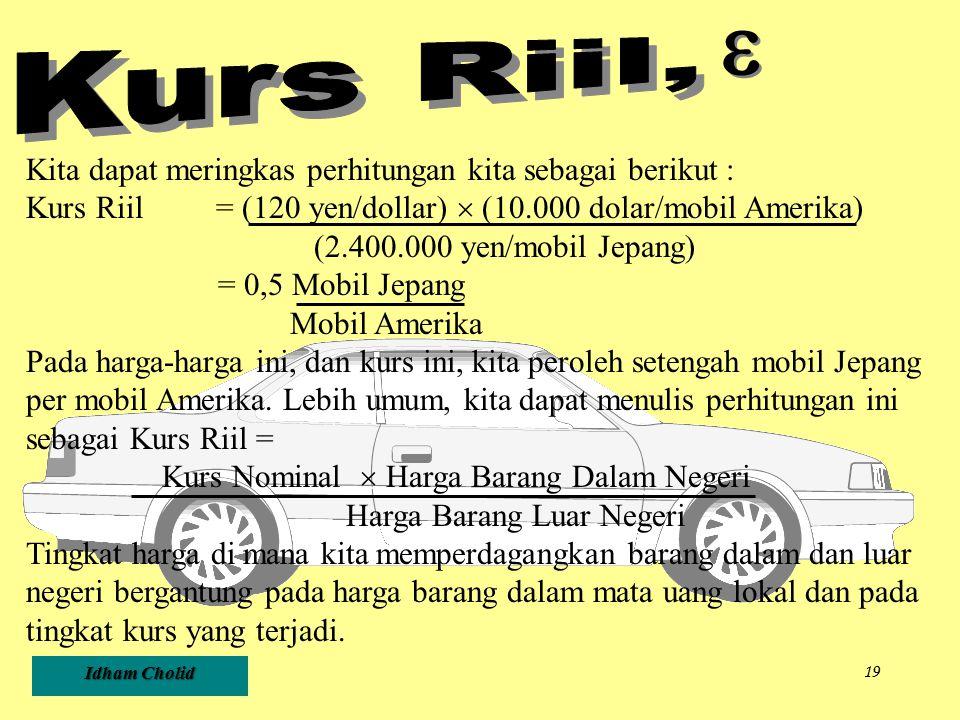 e Kurs Riil, Kita dapat meringkas perhitungan kita sebagai berikut :