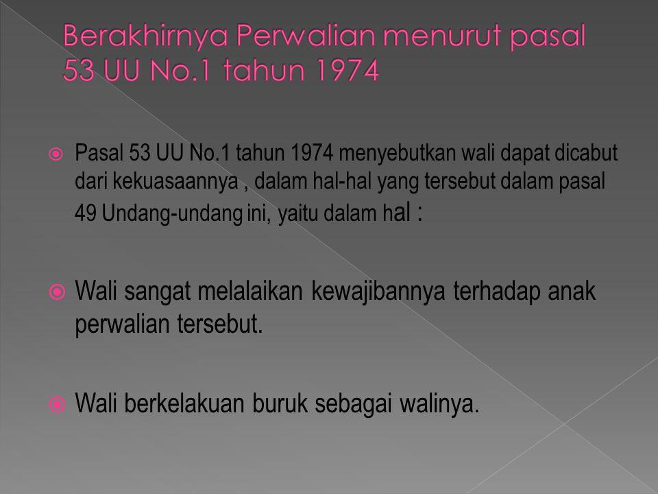 Berakhirnya Perwalian menurut pasal 53 UU No.1 tahun 1974