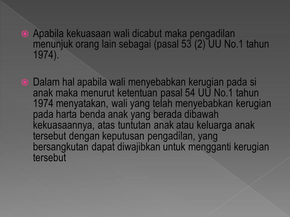Apabila kekuasaan wali dicabut maka pengadilan menunjuk orang lain sebagai (pasal 53 (2) UU No.1 tahun 1974).