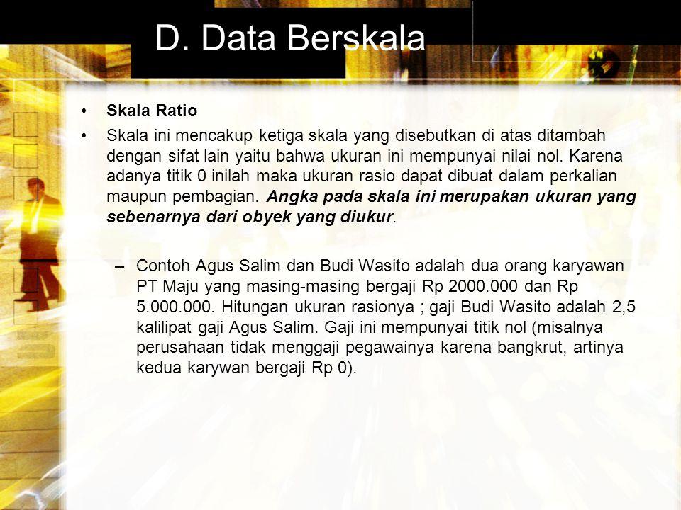 D. Data Berskala Skala Ratio