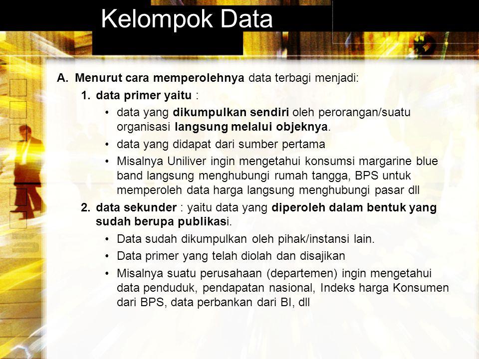 Kelompok Data Menurut cara memperolehnya data terbagi menjadi: