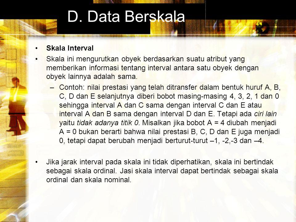 D. Data Berskala Skala Interval