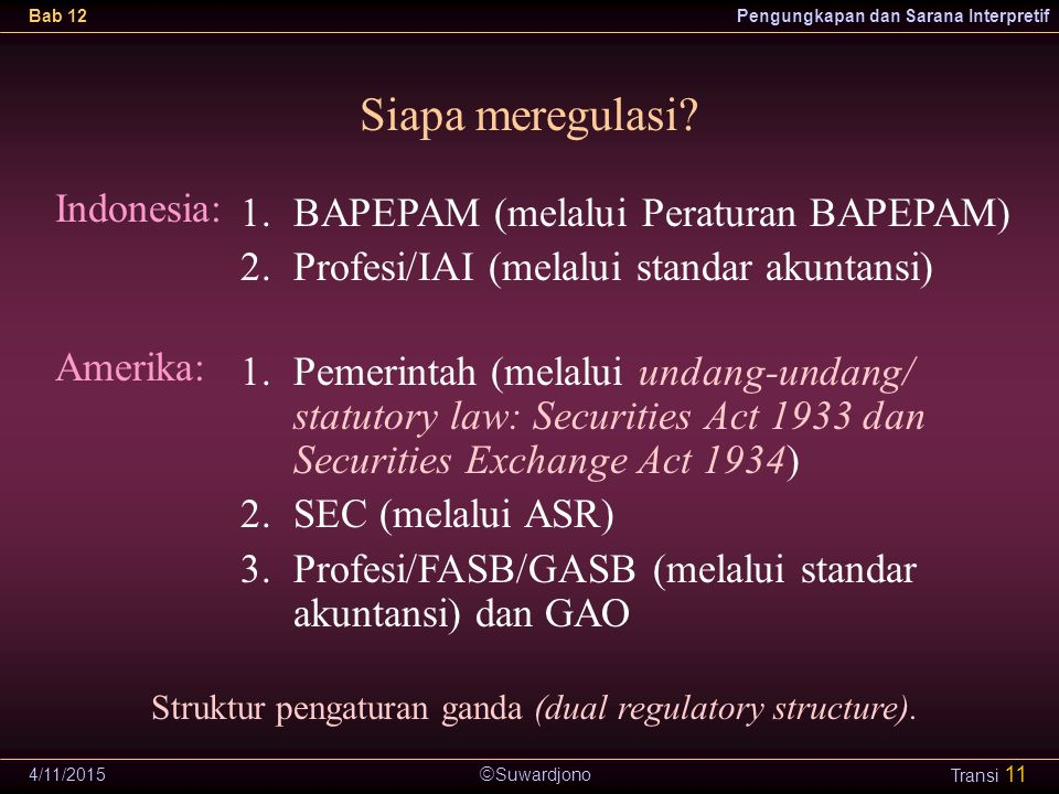 Struktur pengaturan ganda (dual regulatory structure).