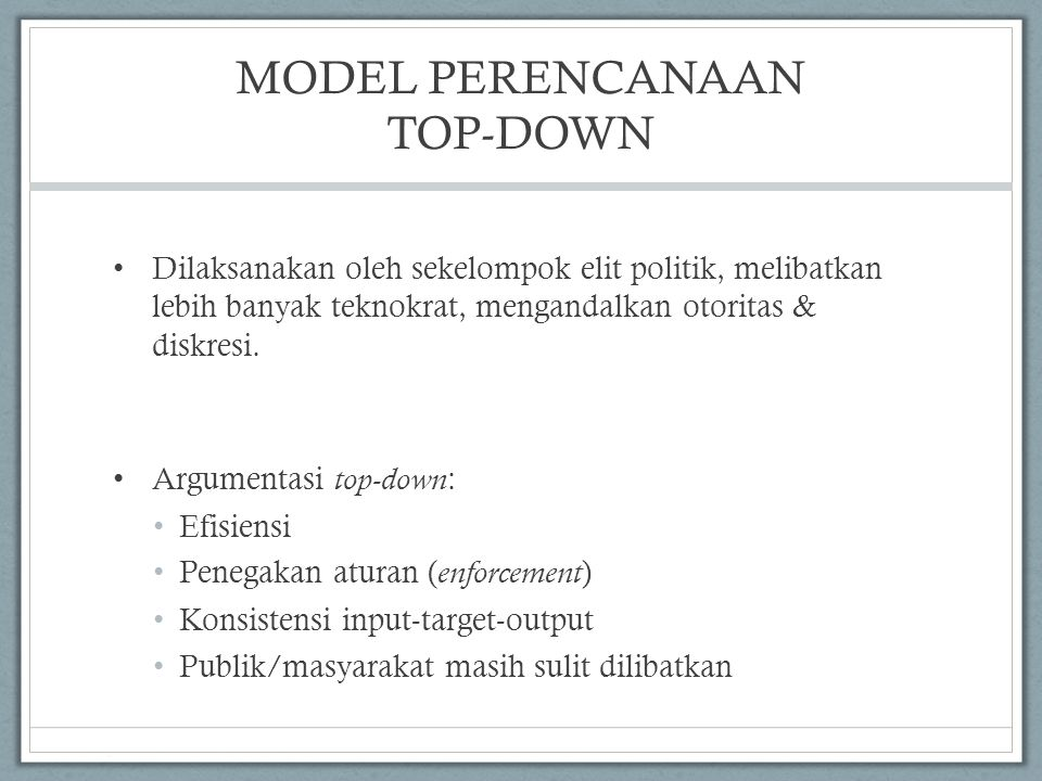 MODEL PERENCANAAN TOP-DOWN