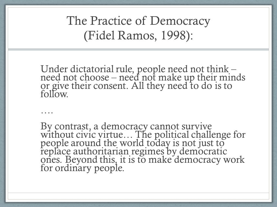 The Practice of Democracy (Fidel Ramos, 1998):