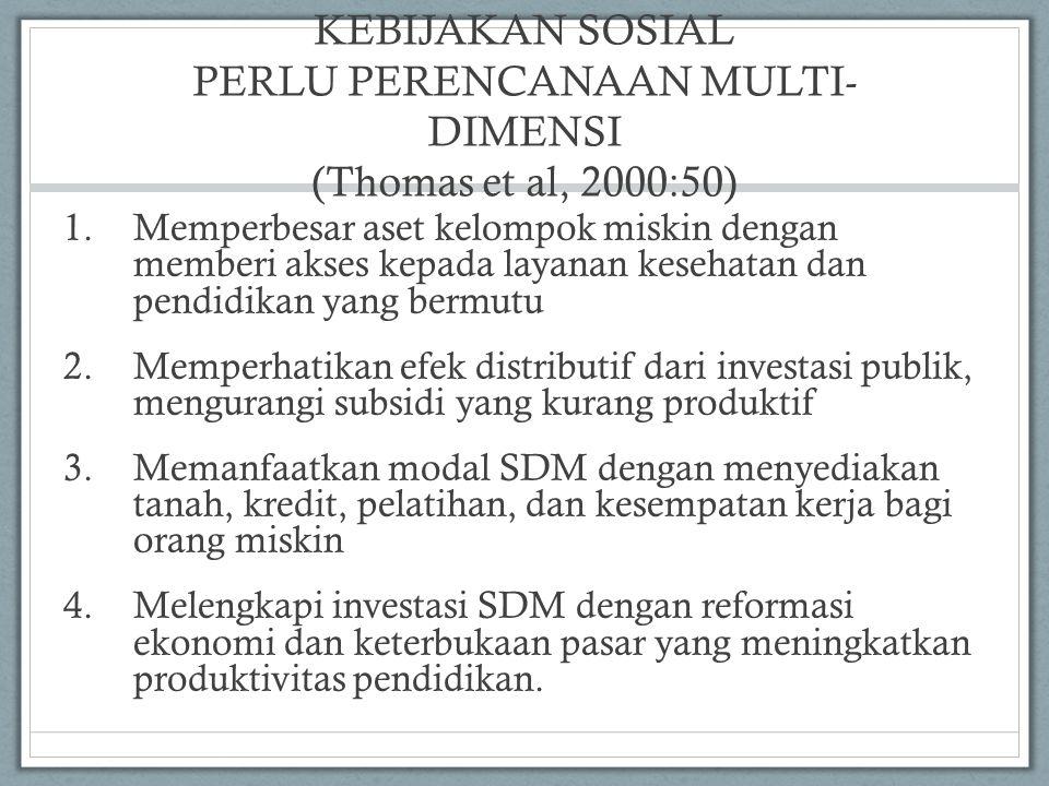 KEBIJAKAN SOSIAL PERLU PERENCANAAN MULTI-DIMENSI (Thomas et al, 2000:50)