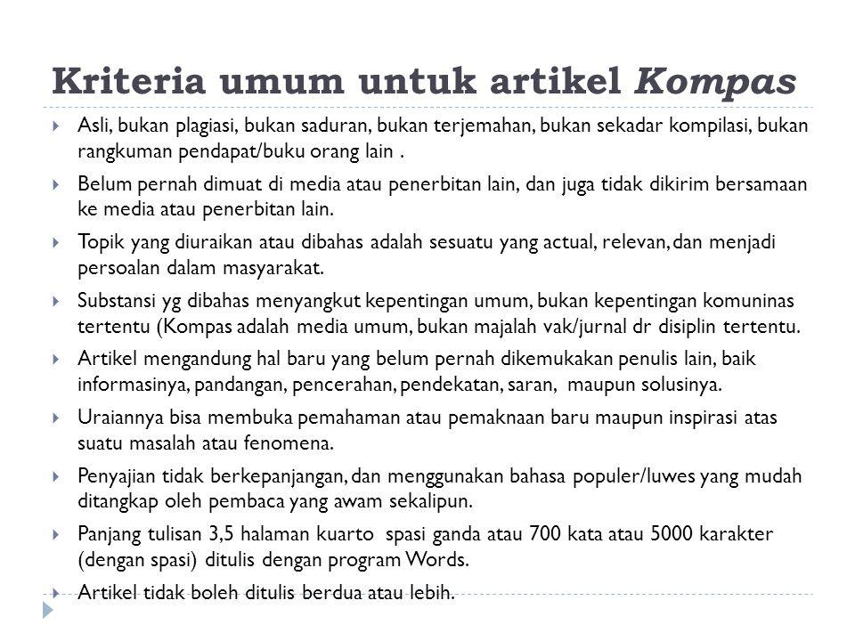 Kriteria umum untuk artikel Kompas