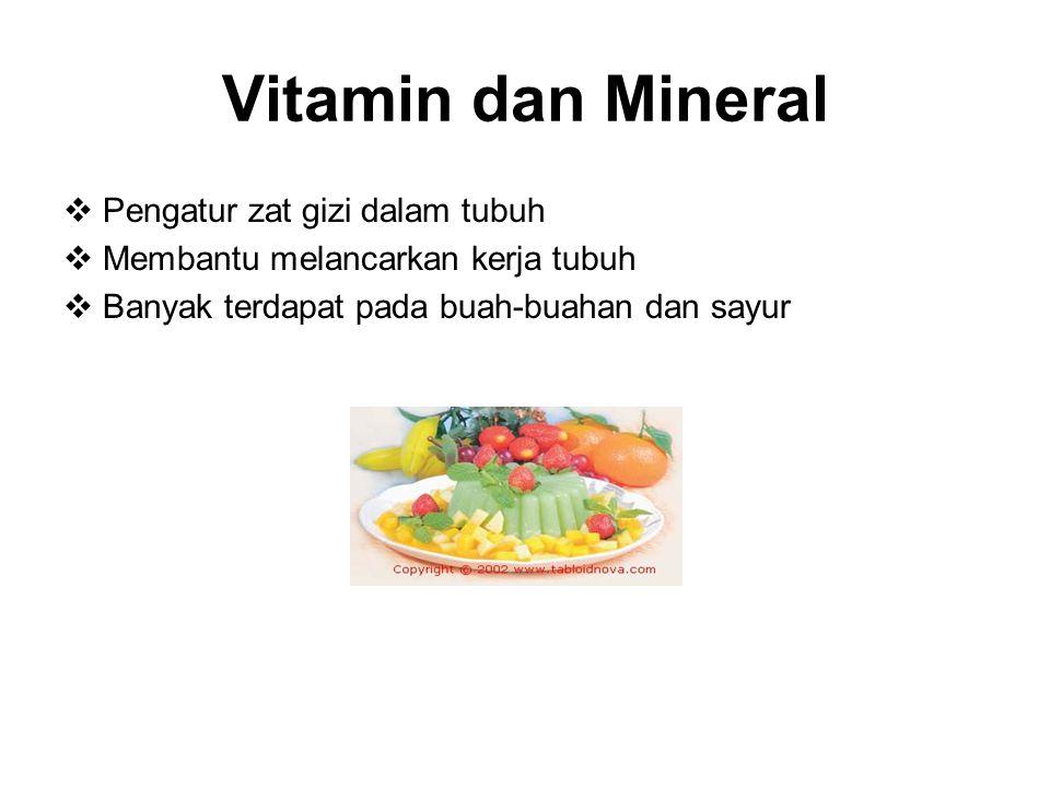 Vitamin dan Mineral Pengatur zat gizi dalam tubuh