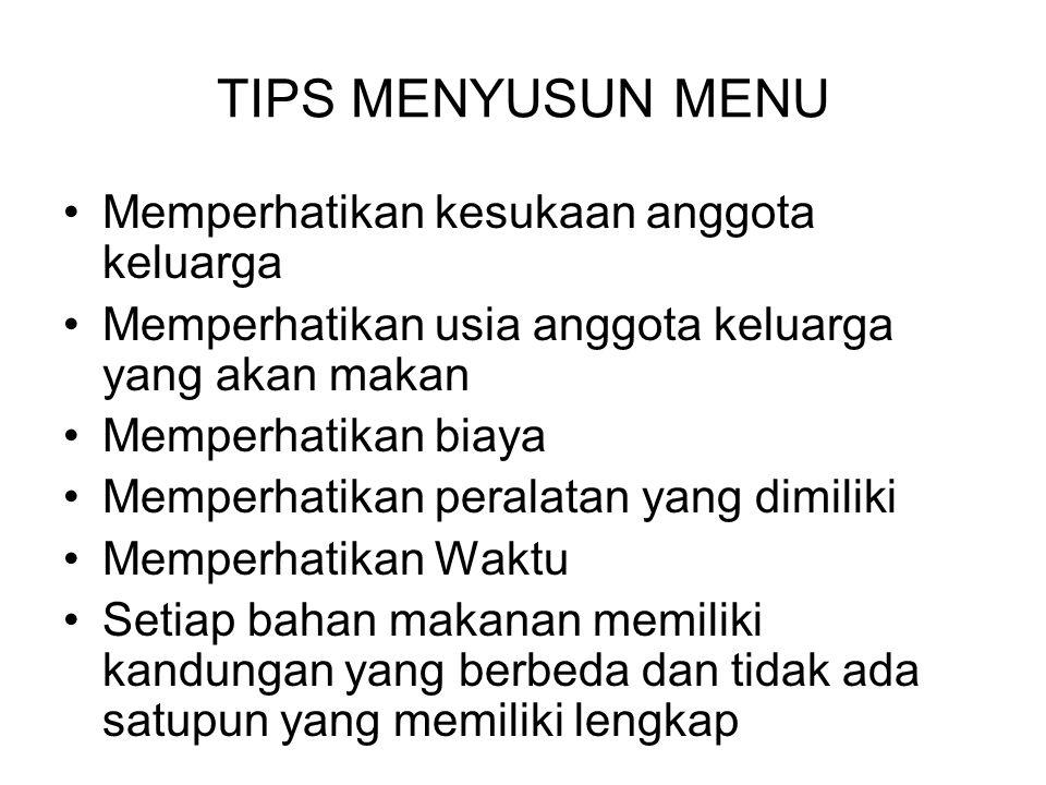 TIPS MENYUSUN MENU Memperhatikan kesukaan anggota keluarga