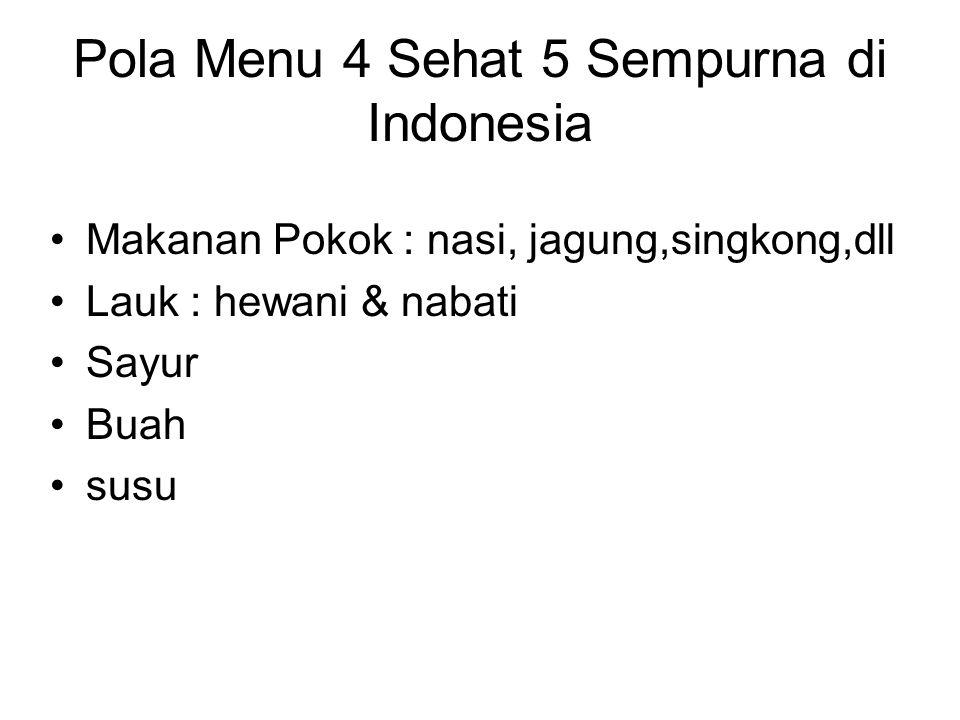 Pola Menu 4 Sehat 5 Sempurna di Indonesia