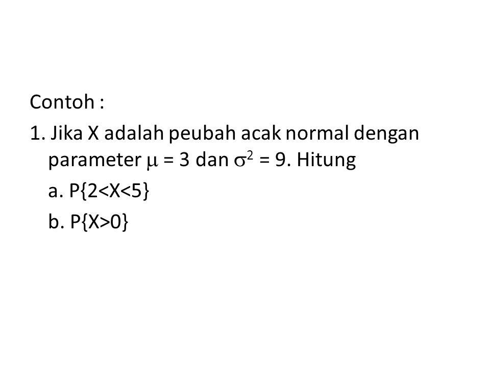 Contoh : 1. Jika X adalah peubah acak normal dengan parameter  = 3 dan 2 = 9. Hitung. a. P{2<X<5}