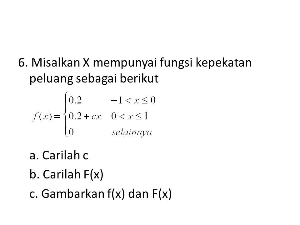 6. Misalkan X mempunyai fungsi kepekatan peluang sebagai berikut