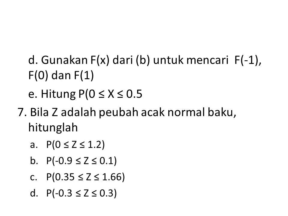 d. Gunakan F(x) dari (b) untuk mencari F(-1), F(0) dan F(1)