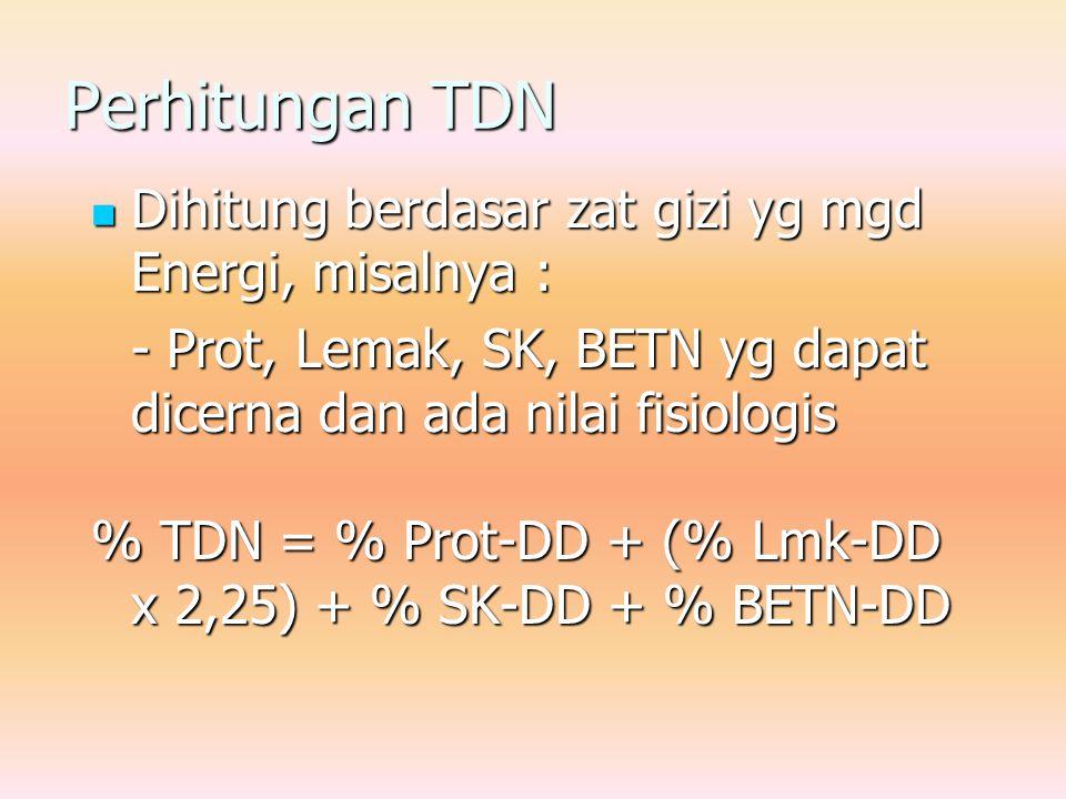 Perhitungan TDN Dihitung berdasar zat gizi yg mgd Energi, misalnya :