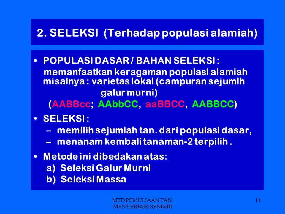 2. SELEKSI (Terhadap populasi alamiah)