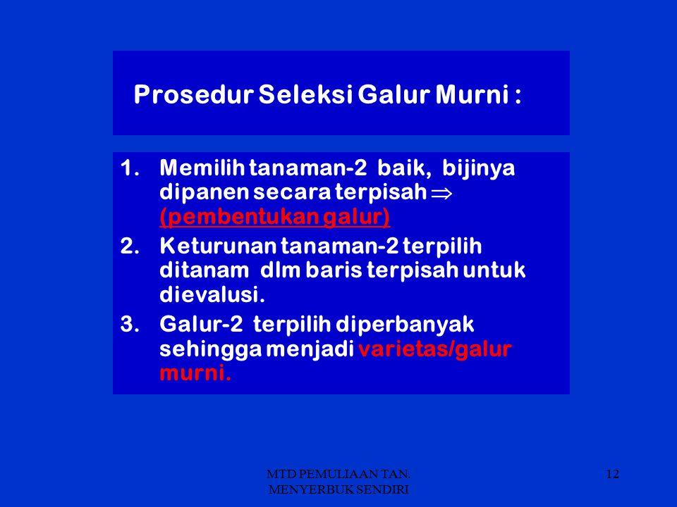 Prosedur Seleksi Galur Murni :