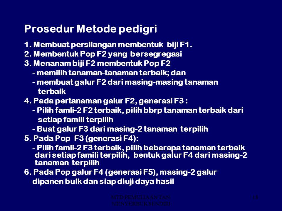 Prosedur Metode pedigri