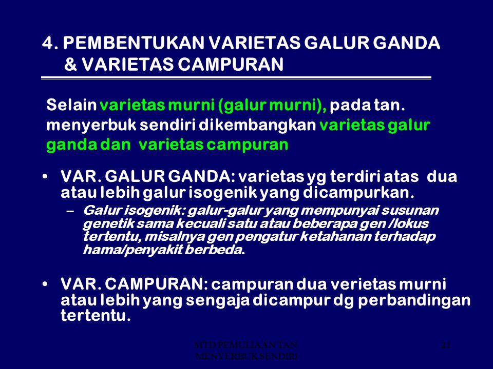 4. PEMBENTUKAN VARIETAS GALUR GANDA & VARIETAS CAMPURAN