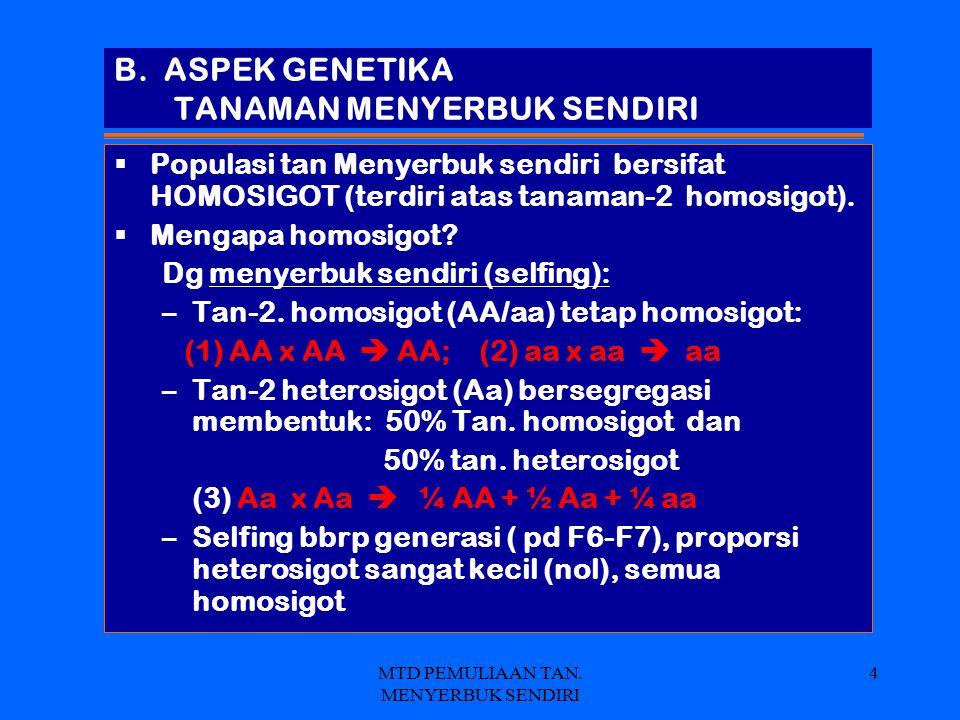 B. ASPEK GENETIKA TANAMAN MENYERBUK SENDIRI