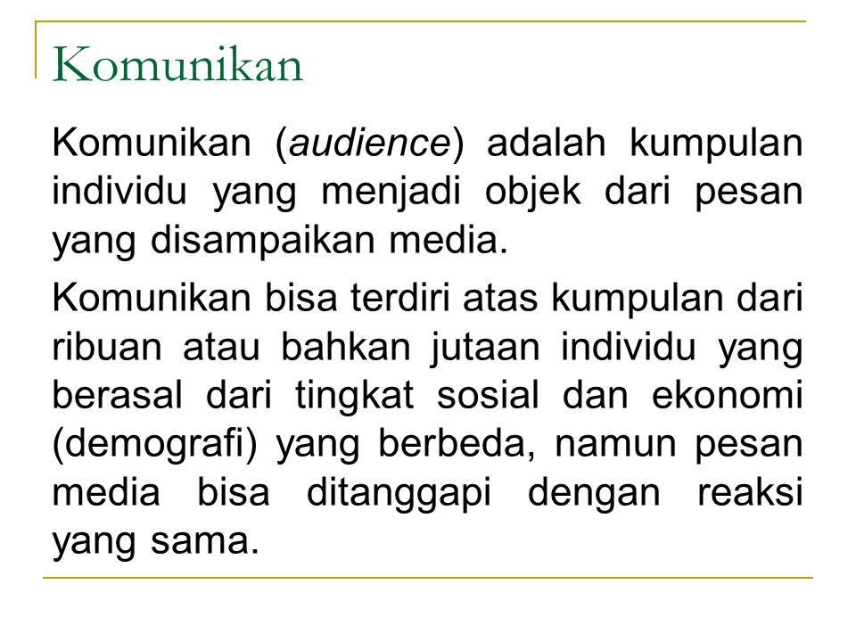 Komunikan Komunikan (audience) adalah kumpulan individu yang menjadi objek dari pesan yang disampaikan media.