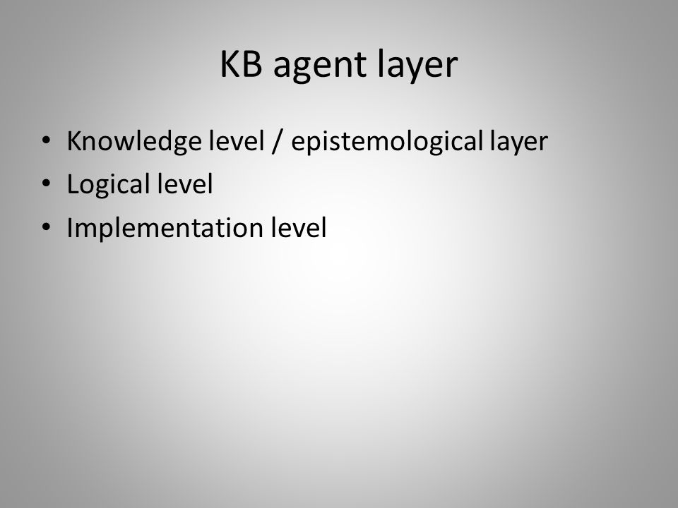 KB agent layer Knowledge level / epistemological layer Logical level