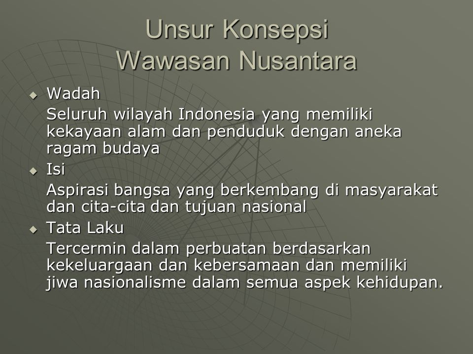 Unsur Konsepsi Wawasan Nusantara