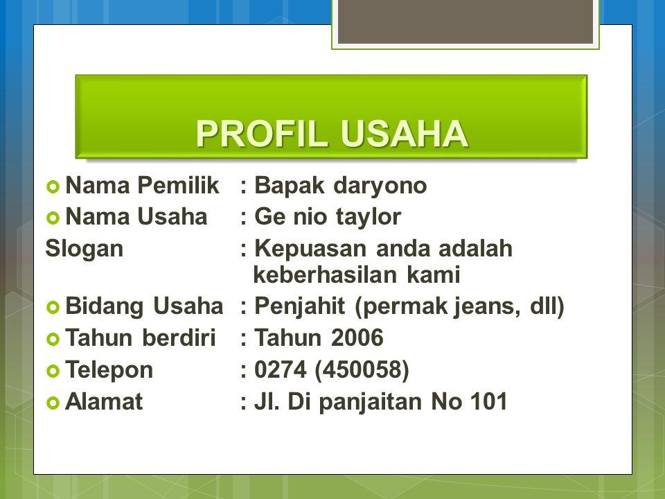 PROFIL USAHA Nama Pemilik : Bapak daryono Nama Usaha : Ge nio taylor