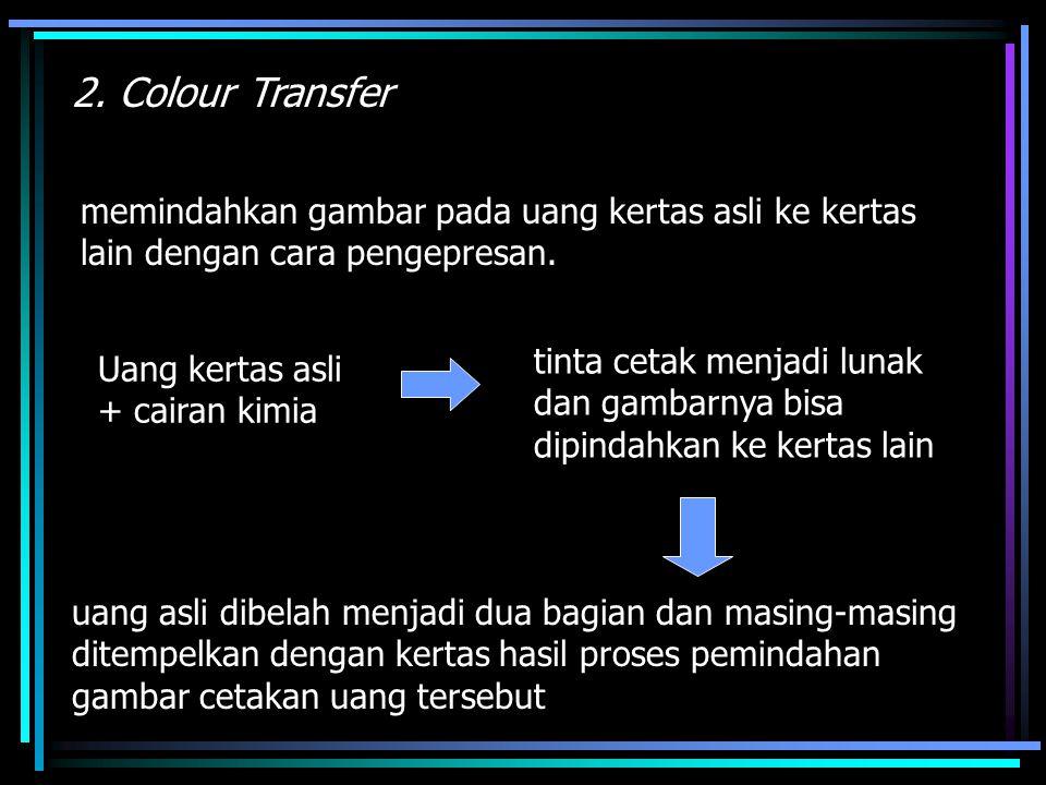 2. Colour Transfer memindahkan gambar pada uang kertas asli ke kertas lain dengan cara pengepresan.