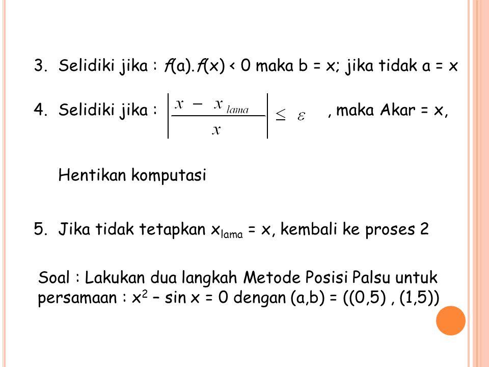 Selidiki jika : f(a).f(x) < 0 maka b = x; jika tidak a = x