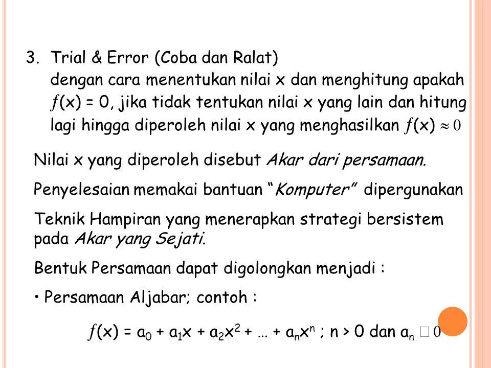 Trial & Error (Coba dan Ralat)