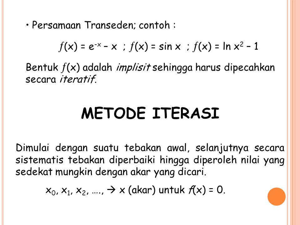METODE ITERASI Persamaan Transeden; contoh :