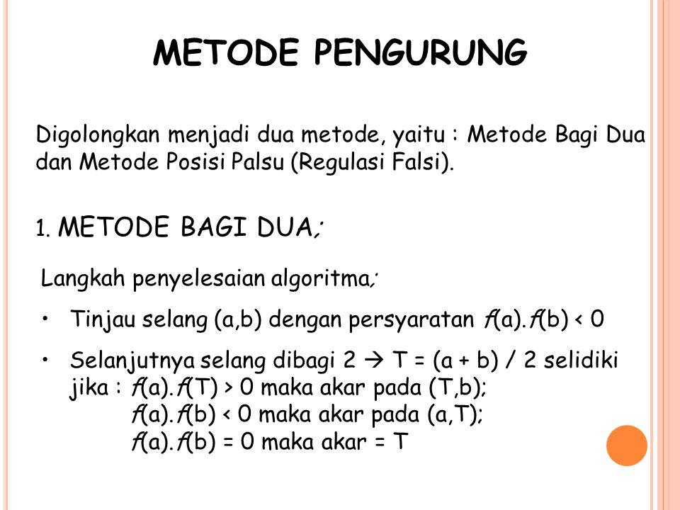 METODE PENGURUNG Digolongkan menjadi dua metode, yaitu : Metode Bagi Dua dan Metode Posisi Palsu (Regulasi Falsi).