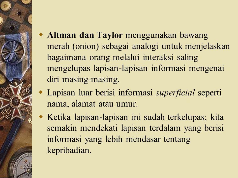 Altman dan Taylor menggunakan bawang merah (onion) sebagai analogi untuk menjelaskan bagaimana orang melalui interaksi saling mengelupas lapisan-lapisan informasi mengenai diri masing-masing.