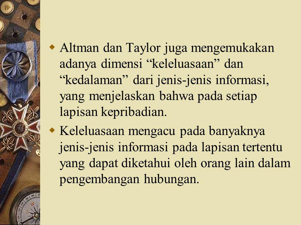 Altman dan Taylor juga mengemukakan adanya dimensi keleluasaan dan kedalaman dari jenis-jenis informasi, yang menjelaskan bahwa pada setiap lapisan kepribadian.