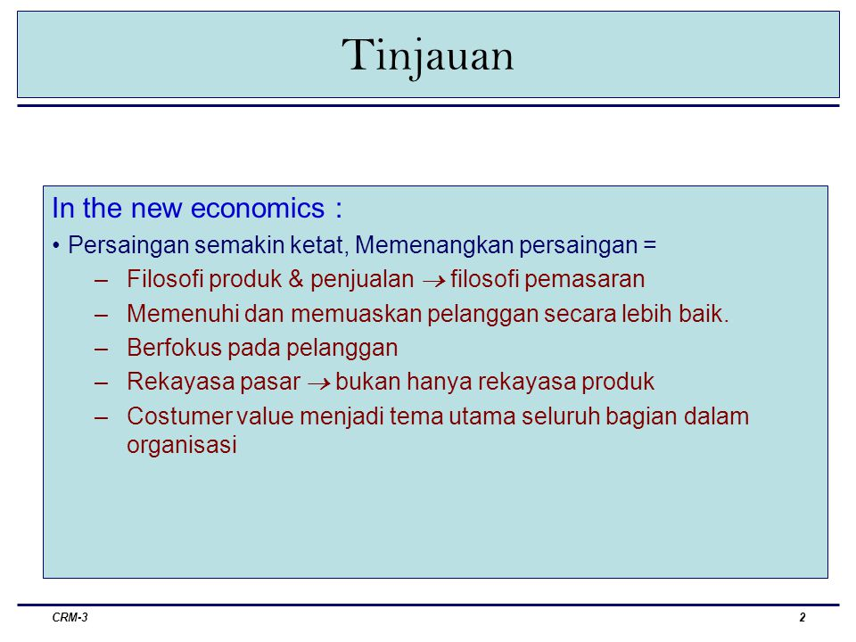 Tinjauan In the new economics :