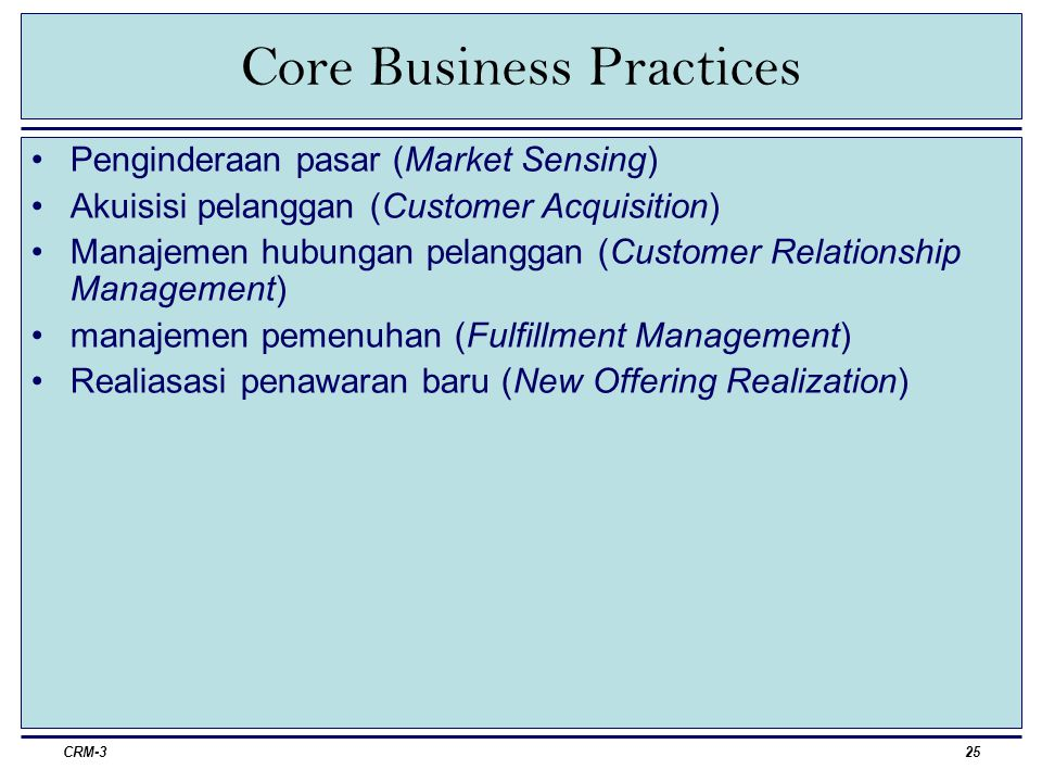 Core Business Practices