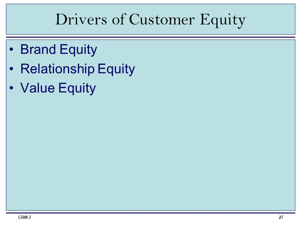 Drivers of Customer Equity