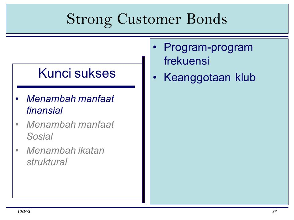 Strong Customer Bonds Kunci sukses Program-program frekuensi
