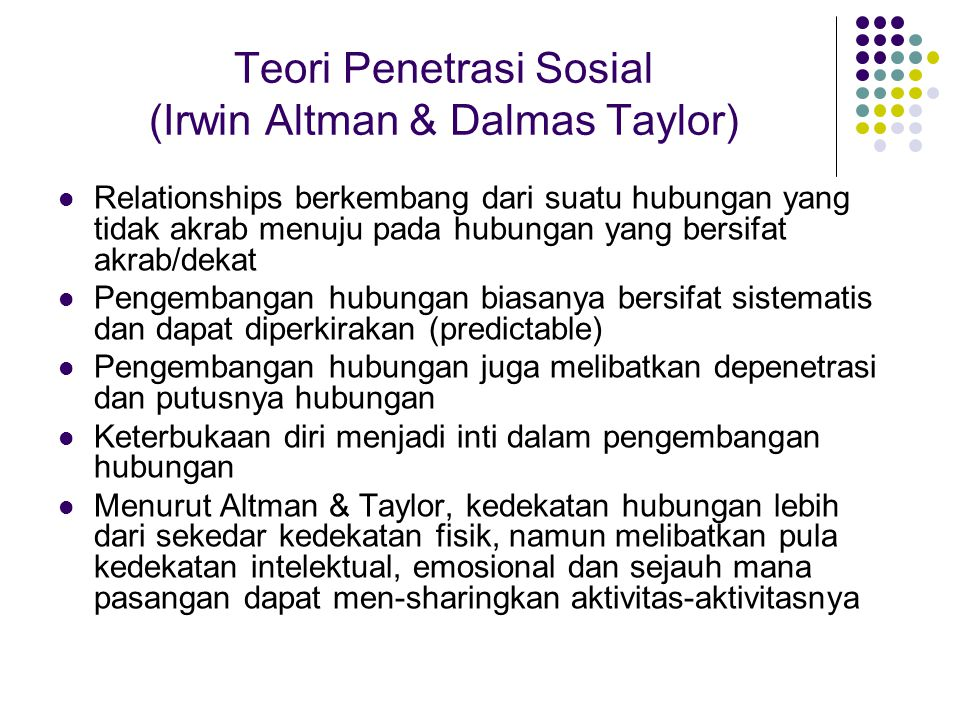Teori Penetrasi Sosial (Irwin Altman & Dalmas Taylor)