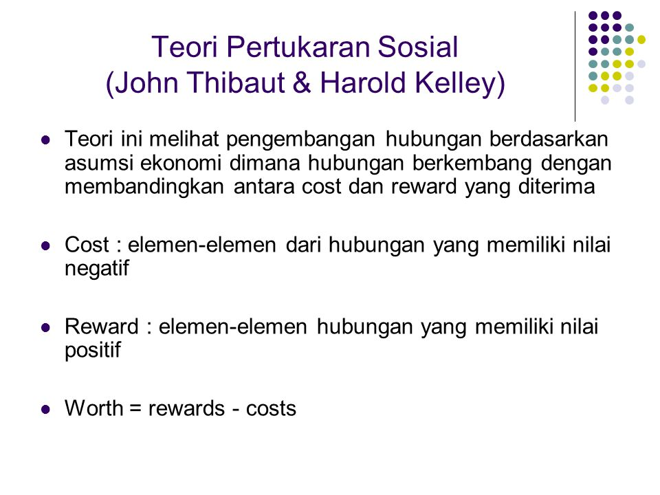 Teori Pertukaran Sosial (John Thibaut & Harold Kelley)