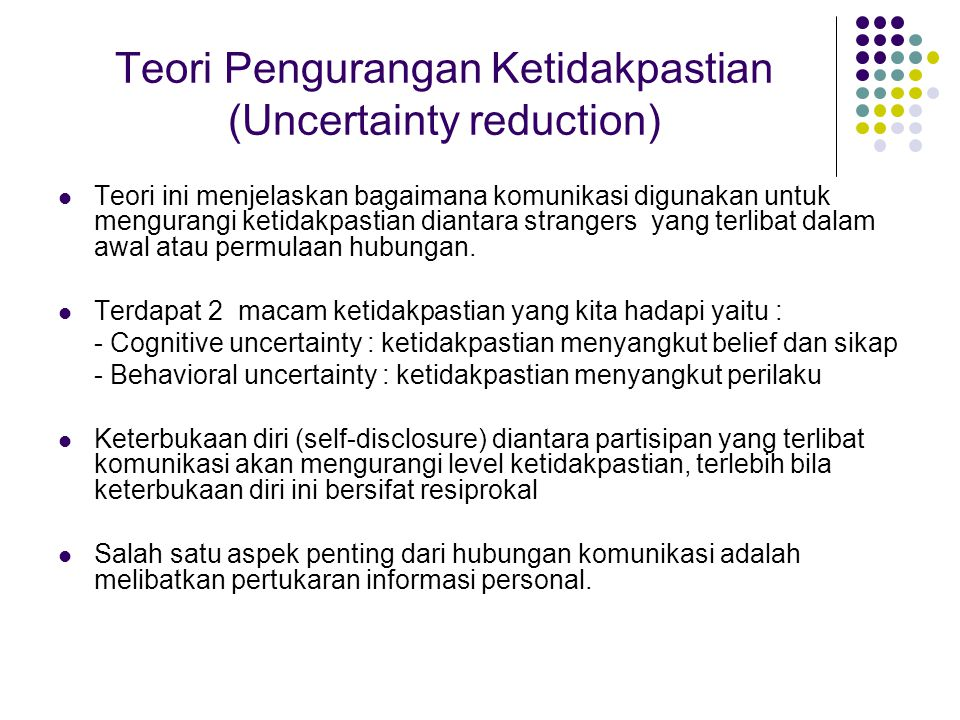 Teori Pengurangan Ketidakpastian (Uncertainty reduction)