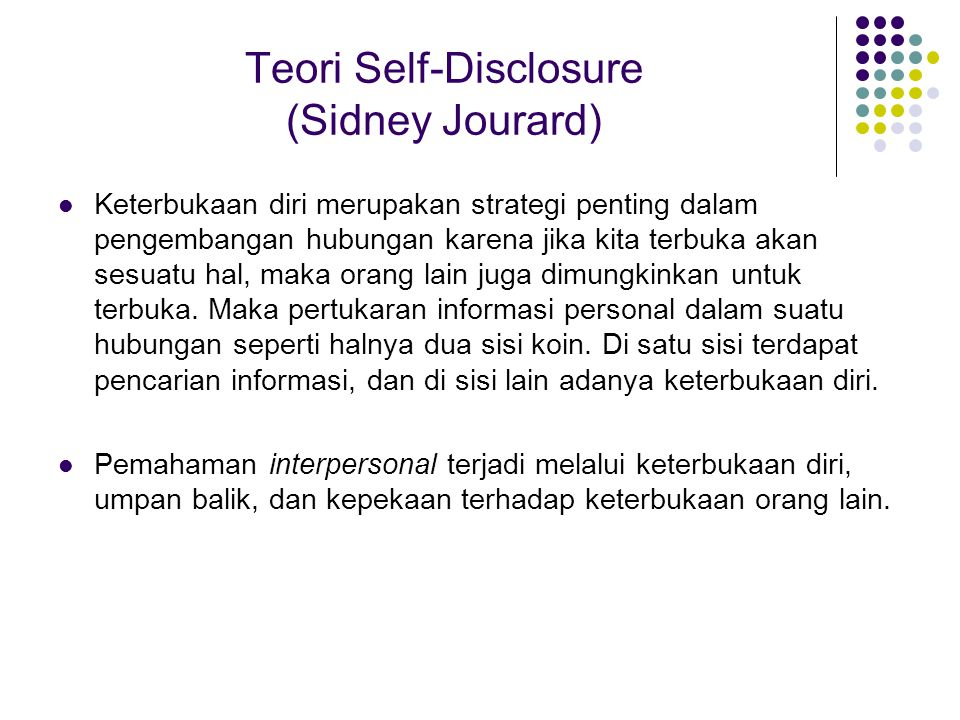 Teori Self-Disclosure (Sidney Jourard)