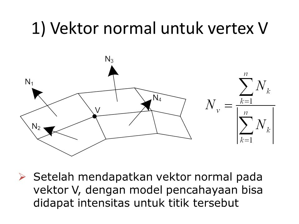 1) Vektor normal untuk vertex V