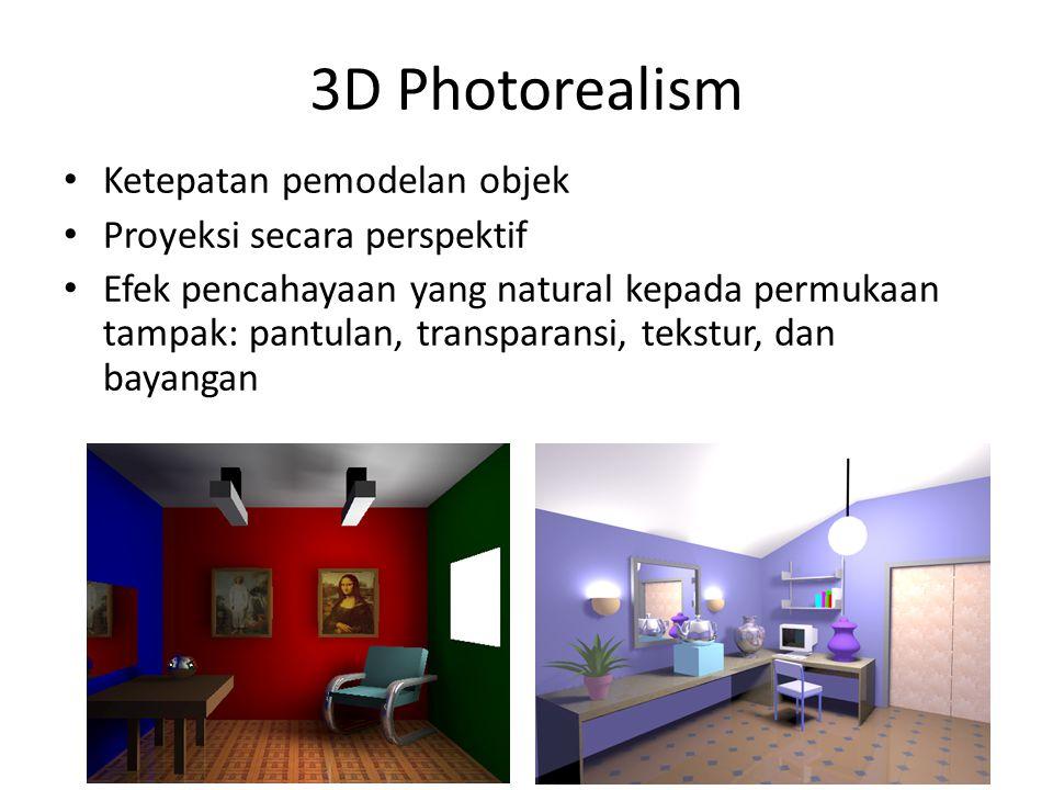 3D Photorealism Ketepatan pemodelan objek Proyeksi secara perspektif