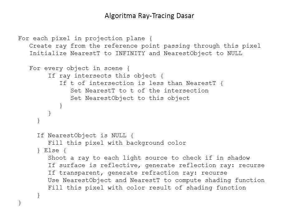 Algoritma Ray-Tracing Dasar