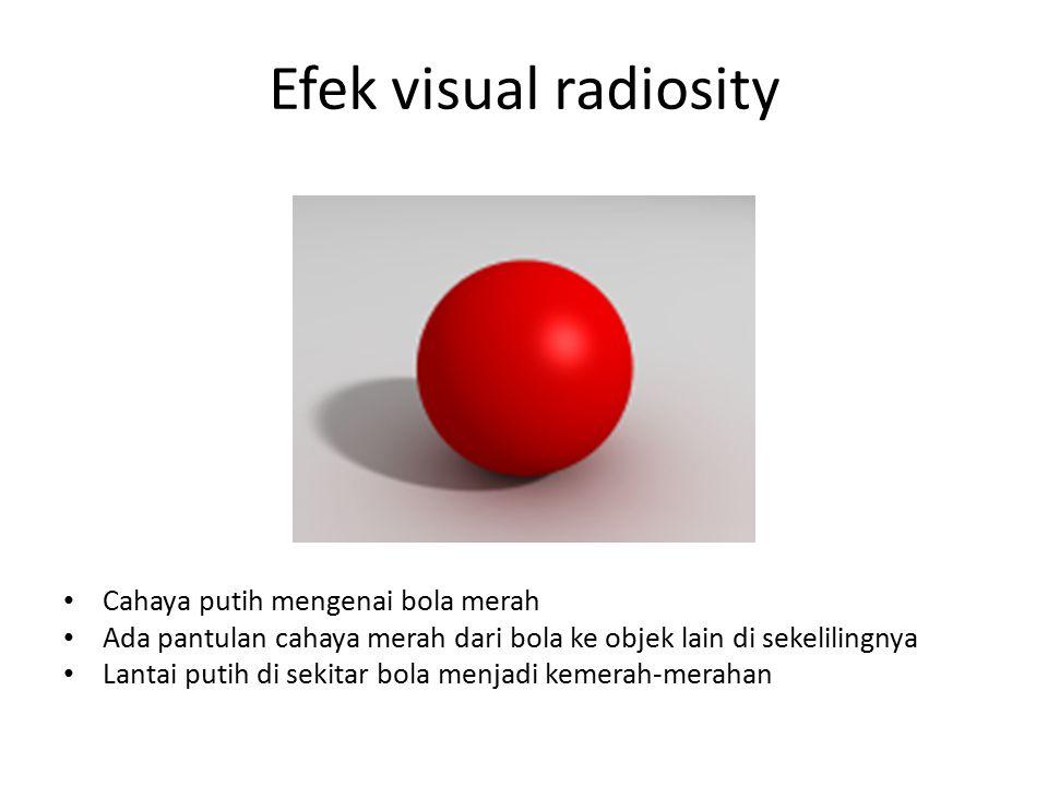 Efek visual radiosity Cahaya putih mengenai bola merah