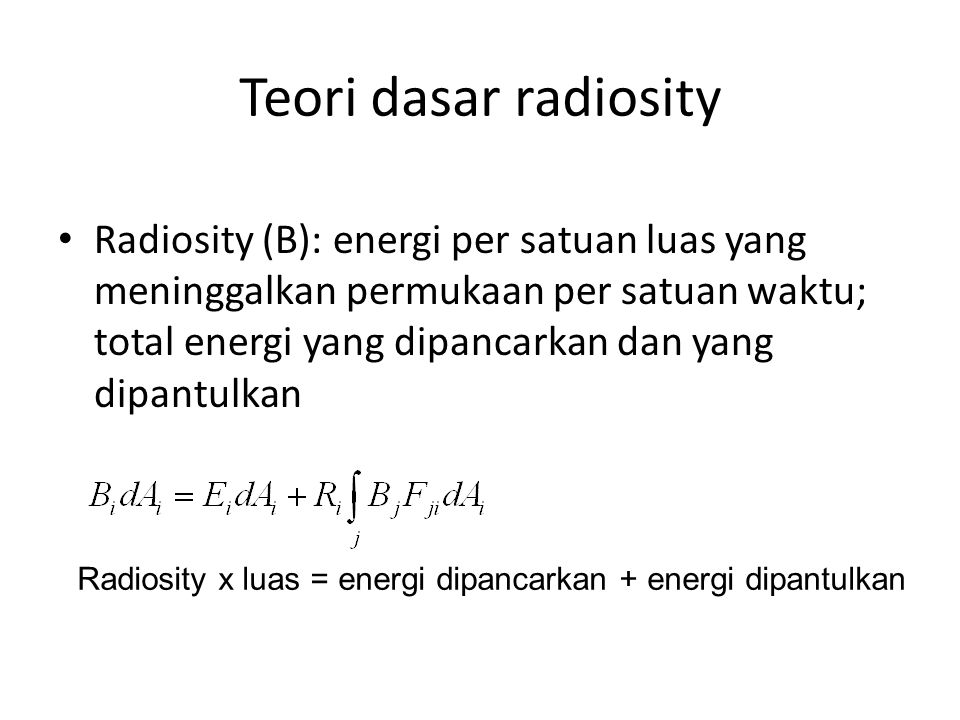Teori dasar radiosity