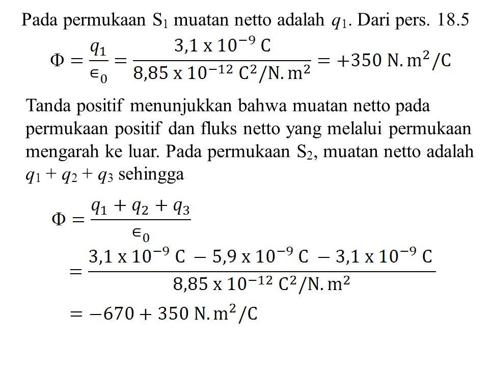 Pada permukaan S1 muatan netto adalah q1. Dari pers. 18.5