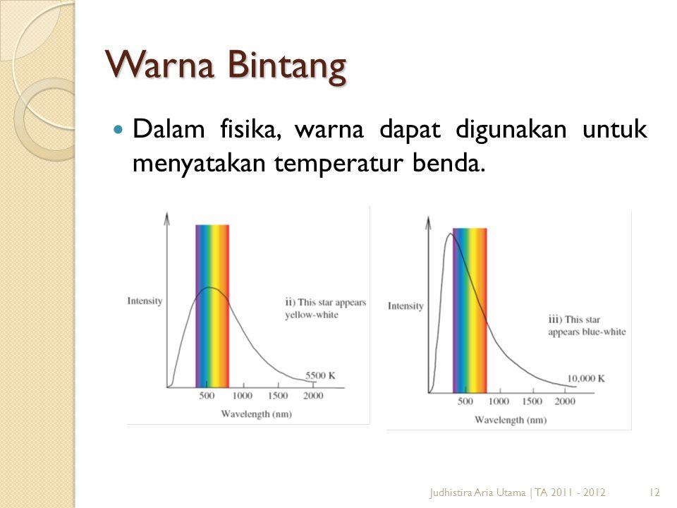 Warna Bintang Dalam fisika, warna dapat digunakan untuk menyatakan temperatur benda.